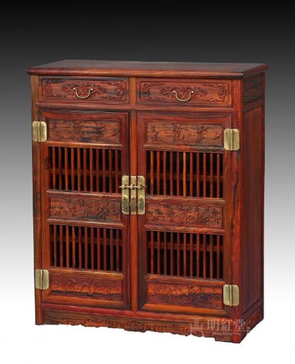 明式透棂小橱柜-书房家具系列-厦门明红堂红木艺术图片